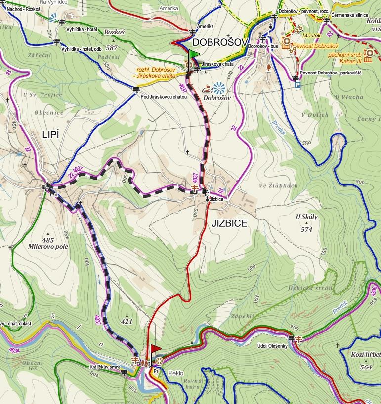 trasa Dobrosov-Peklo na kole